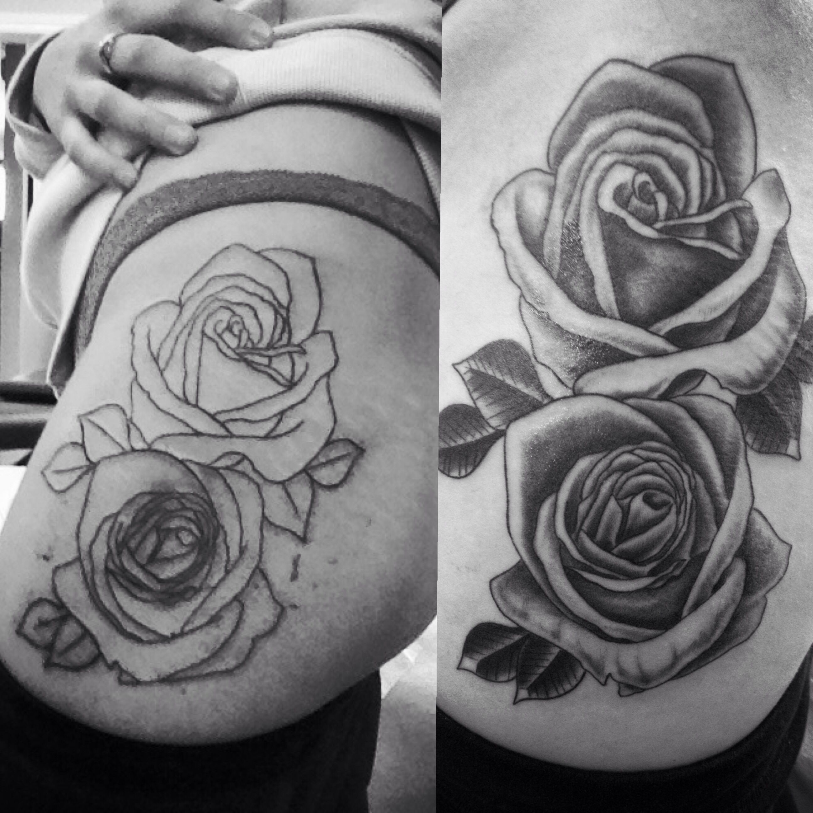 44 Awesome Hip Rose Tattoos: My First Big Piece. Rose Tattoo On Hip/thigh. About 2
