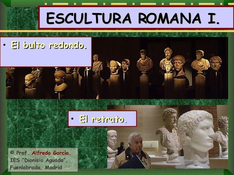 Primera parte de la Escultura romana. Se trata de las influencias que dan origen a la escultura en Roma y de lo que aporta más novedoso en bulto redondo: el re…