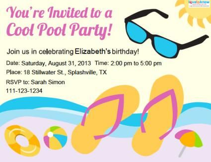 Teen pool party invitation leila Pinterest Pool party - pool party invitation