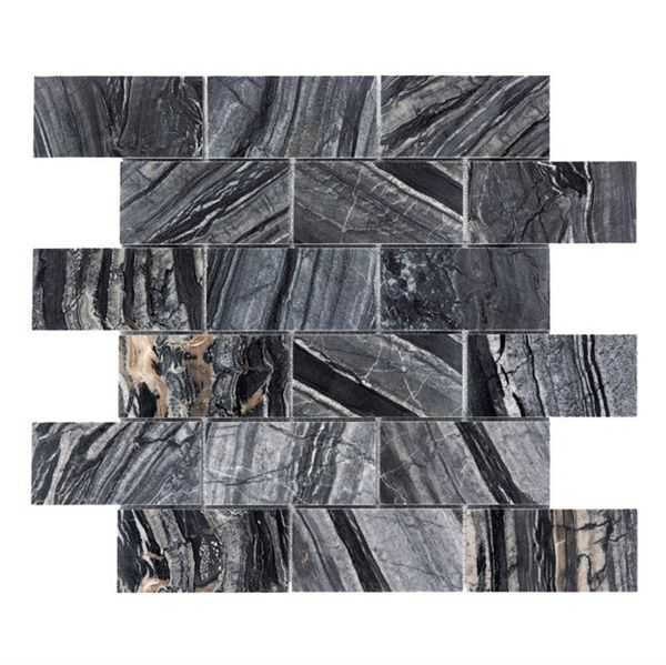 Shop Faber 12 in x 12 in Zebra Black Brick Polished Natural Stone