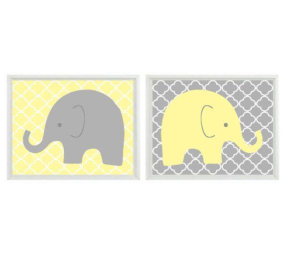 Elephant Nursery Wall Art - Yellow Gray Decor Quatrefoil Clover ...