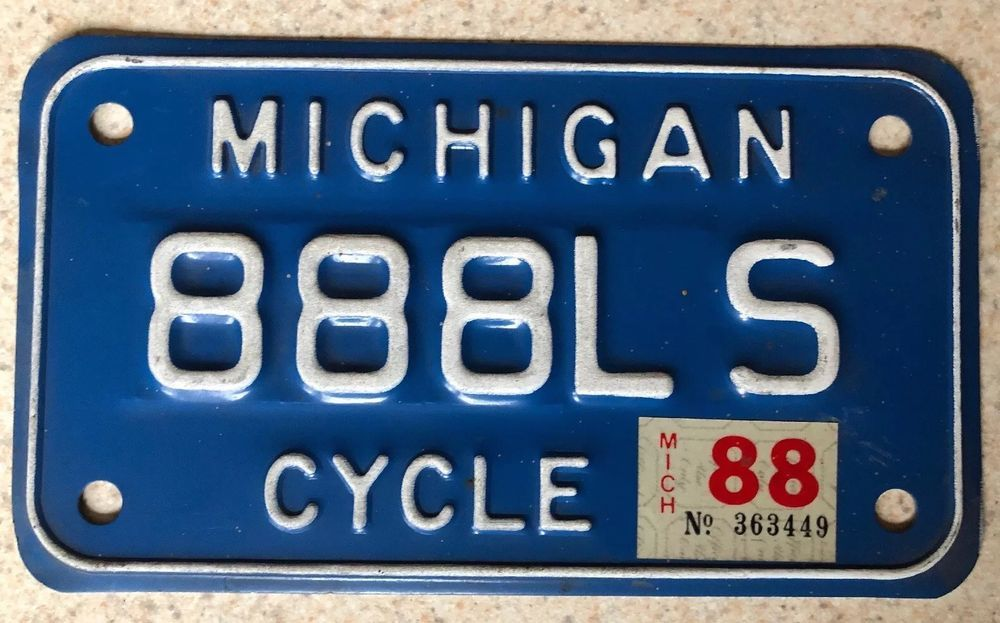 MICHIGAN Motorcycle Cycle License Plate 888LS White on