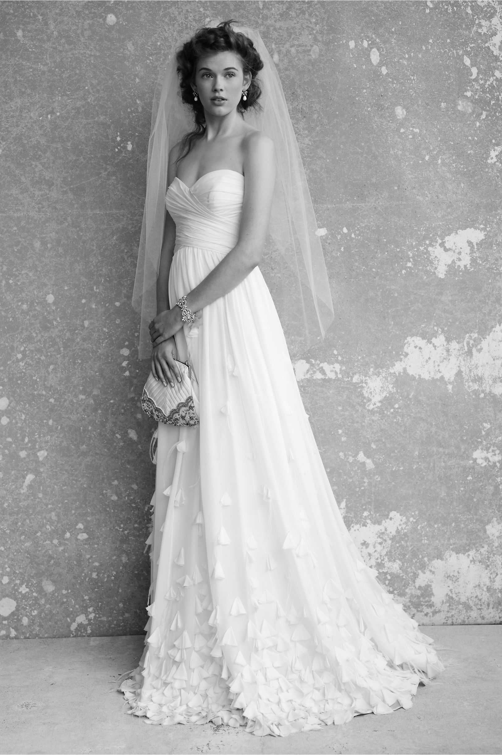 White maternity wedding dress  Windswept Gown in SHOP The Bride Wedding Dresses Strapless at BHLDN
