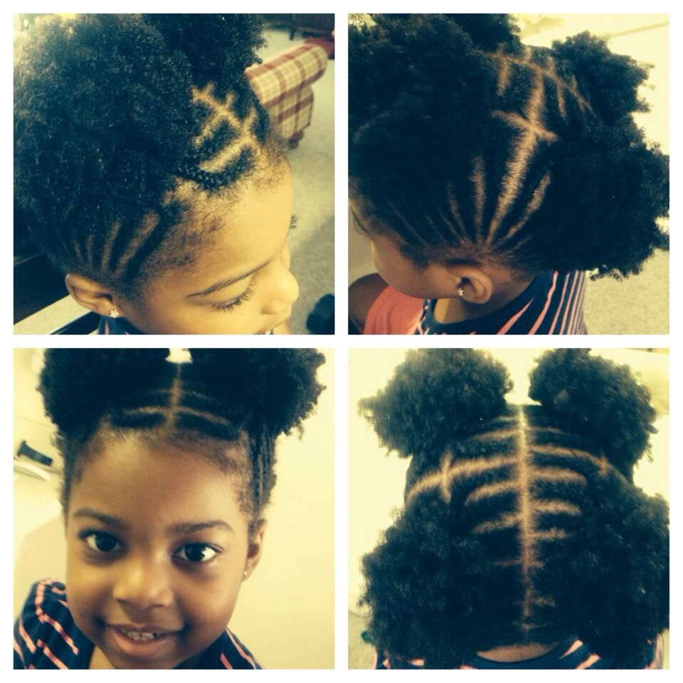 Kid Natural Hair Style Braids Afro Puffs Kids Curly