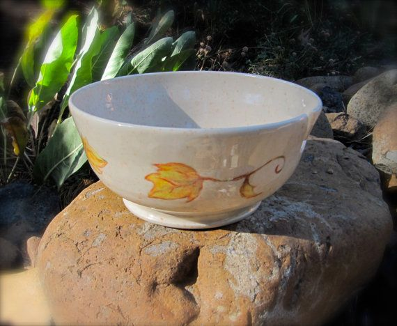 If you use yarn, you can never have enough yarn bowls. At least that's my opinion! Yarn Bowl with Autumn Leaves by Walking Crow Clay