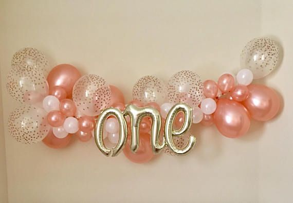 Ballon Girlande DIY Kit Rose Gold Konfetti Look Latex Ballon ~ Rose Gold erster Geburtstag ~ Rose Gold Ballon Girlande ~ Rose Gold Party Dekor ~ Rose # ...