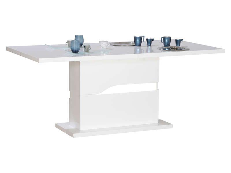 table avec allonge ovio coloris blanc