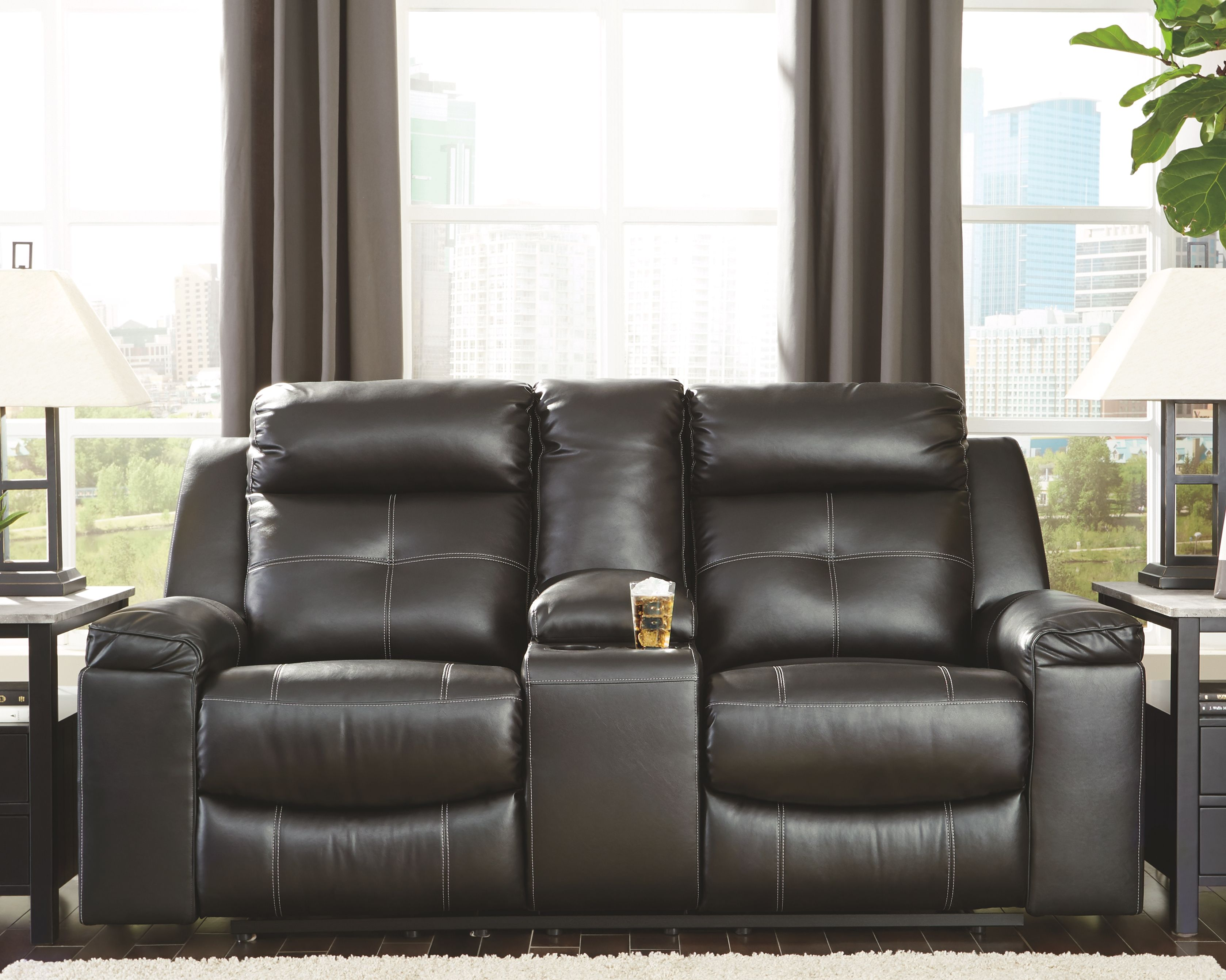 Groovy Kempten Reclining Loveseat With Console Black Products In Inzonedesignstudio Interior Chair Design Inzonedesignstudiocom