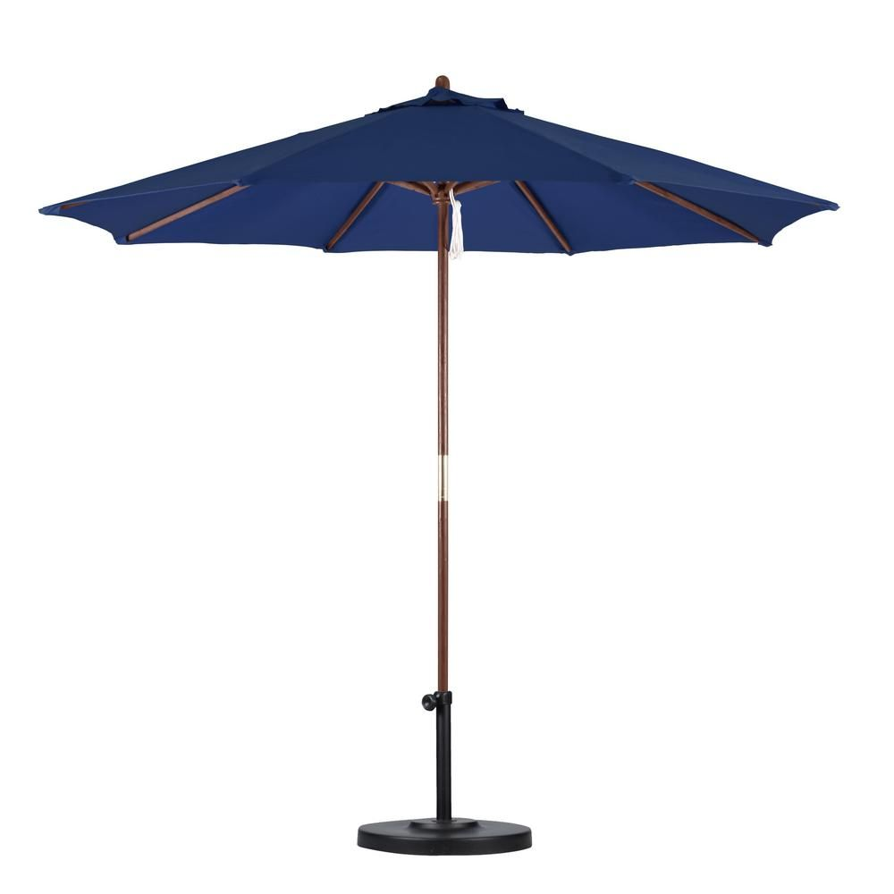 California Umbrella 9 ft. Wood Pulley Open Patio Umbrella in Navy Blue Polyester