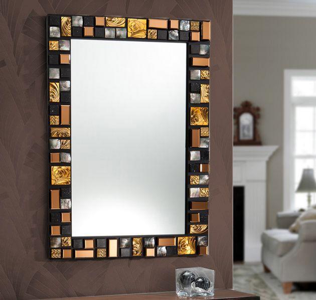 Espejos de dise o mosaic dorado decoracion beltran tu for Espejos decorativos dorados