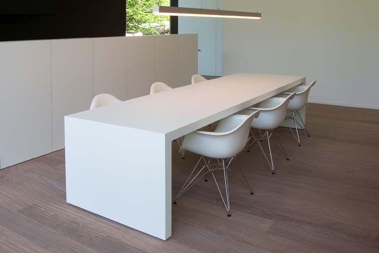 Eettafel Modern Wit.Moderne Witte Tafel Woonproject Eettafel Tafel Woonkamer