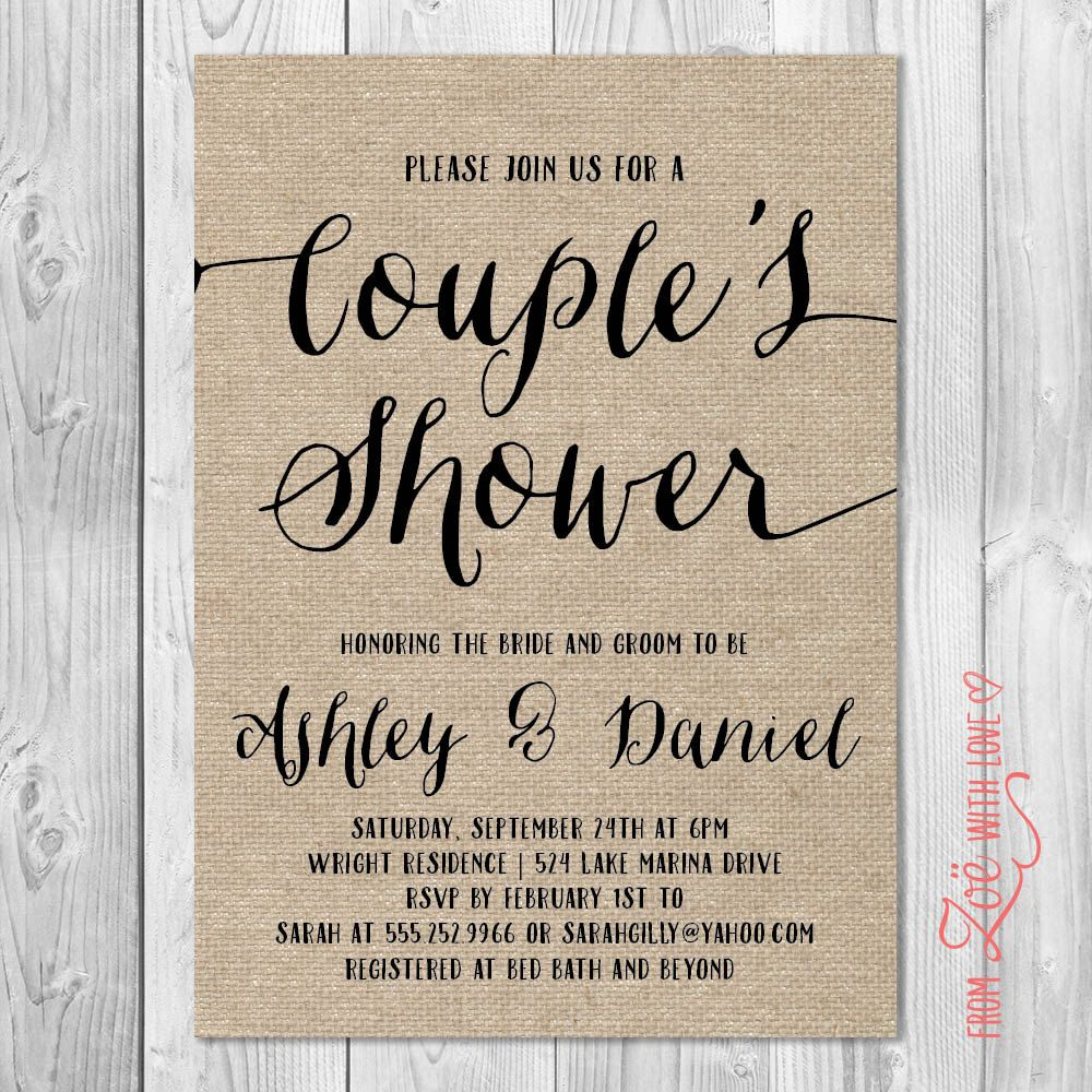 Rustic Couples Shower Invitation Burlap By Zoewithlovestudio