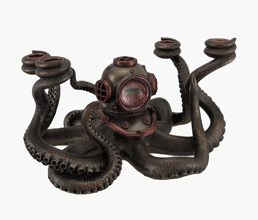 Steampunk Style Octopus Candle Holder: Who knew octopi could be edgy on bristle worm home, giraffe home, duck home, turtle home, frog home, rabbit home, wolf home, cuttlefish home, dragon home, caterpillar home, fish home, lizard home, dubai home, squid home,