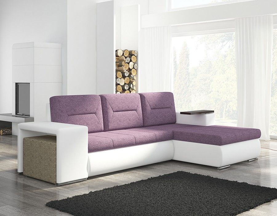 canape d 39 angle violet et blanc avec pouf canap design canap contemporain canap en cuir. Black Bedroom Furniture Sets. Home Design Ideas