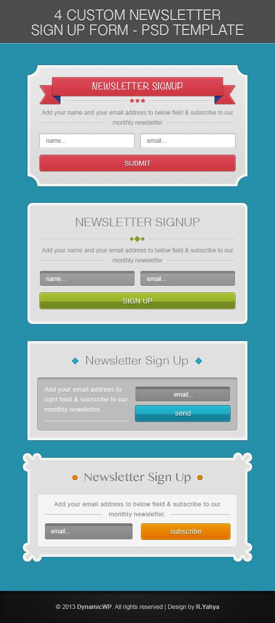 Free PSD Signup Form Template from DynamicWP design inspiration - email signup template