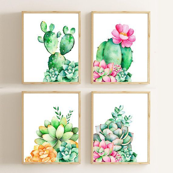 Cactus Print/ Cactus Decor/ Nursery Wall Art /Succulent Print Rustic Home Decor Watercolor Pr...