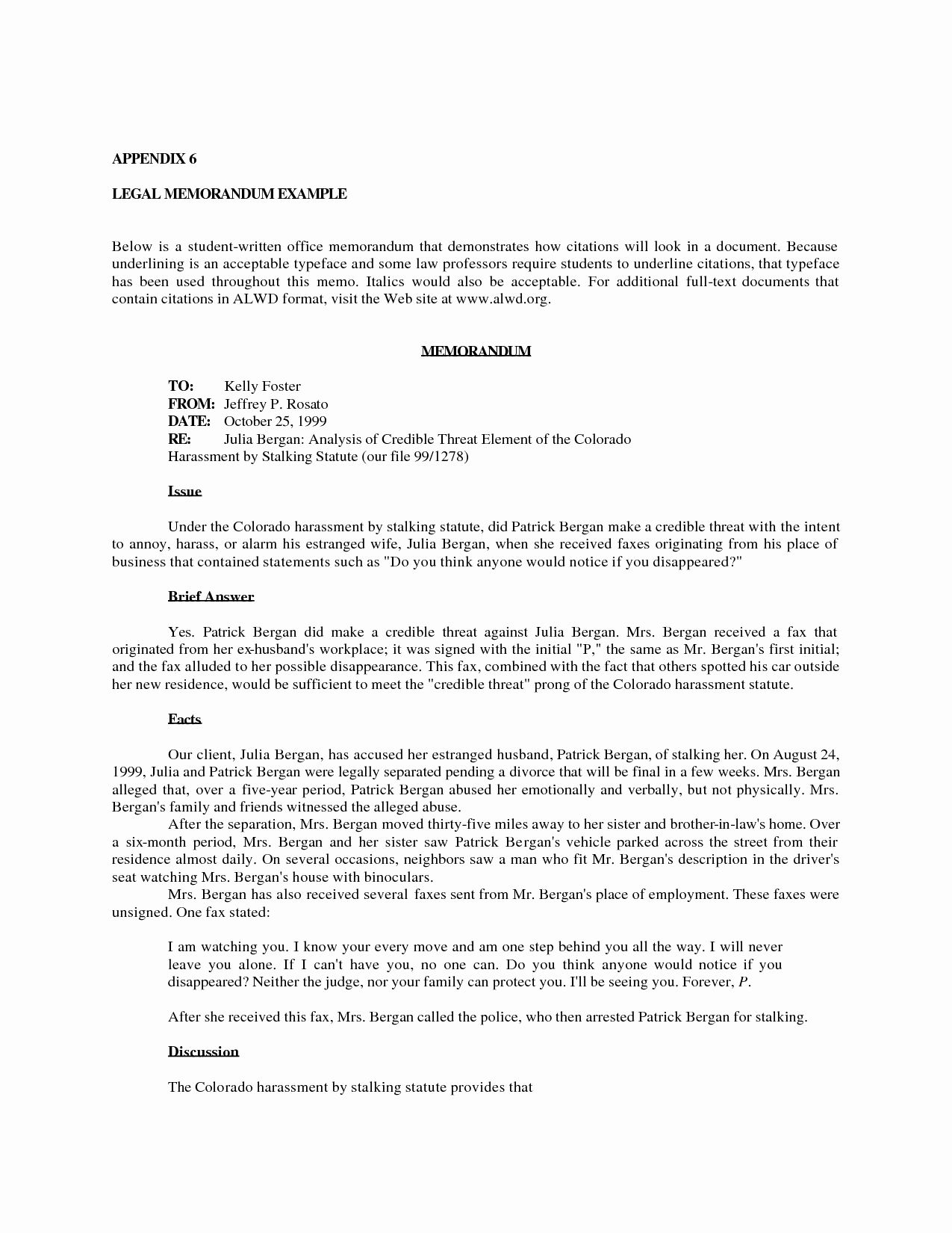 Sample Legal Memo format Best Of 8 Best Of Sample Fice