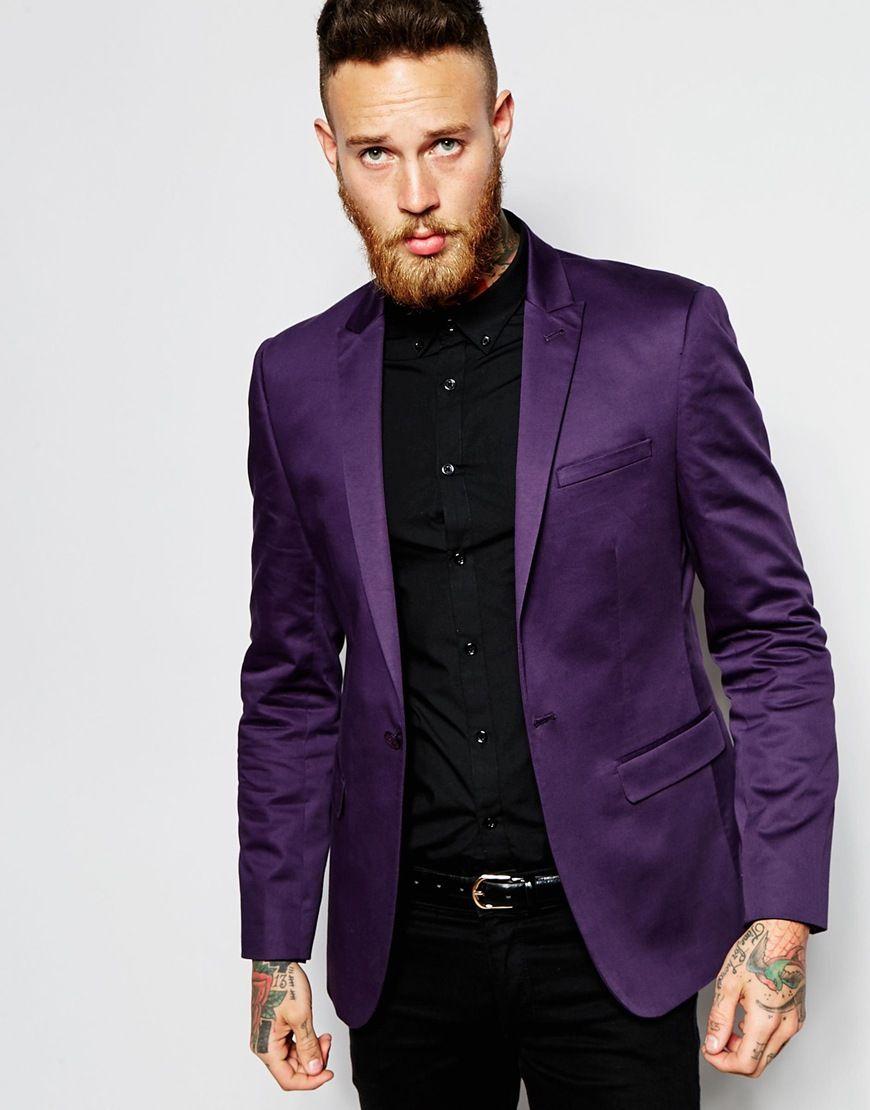 ASOS Skinny Suit In Purple Cotton Sateen | Trajes | Pinterest | Traje