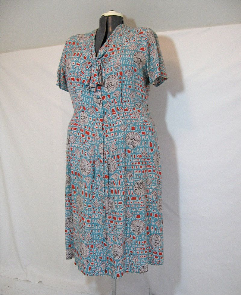 Plus size vintage rayon dress