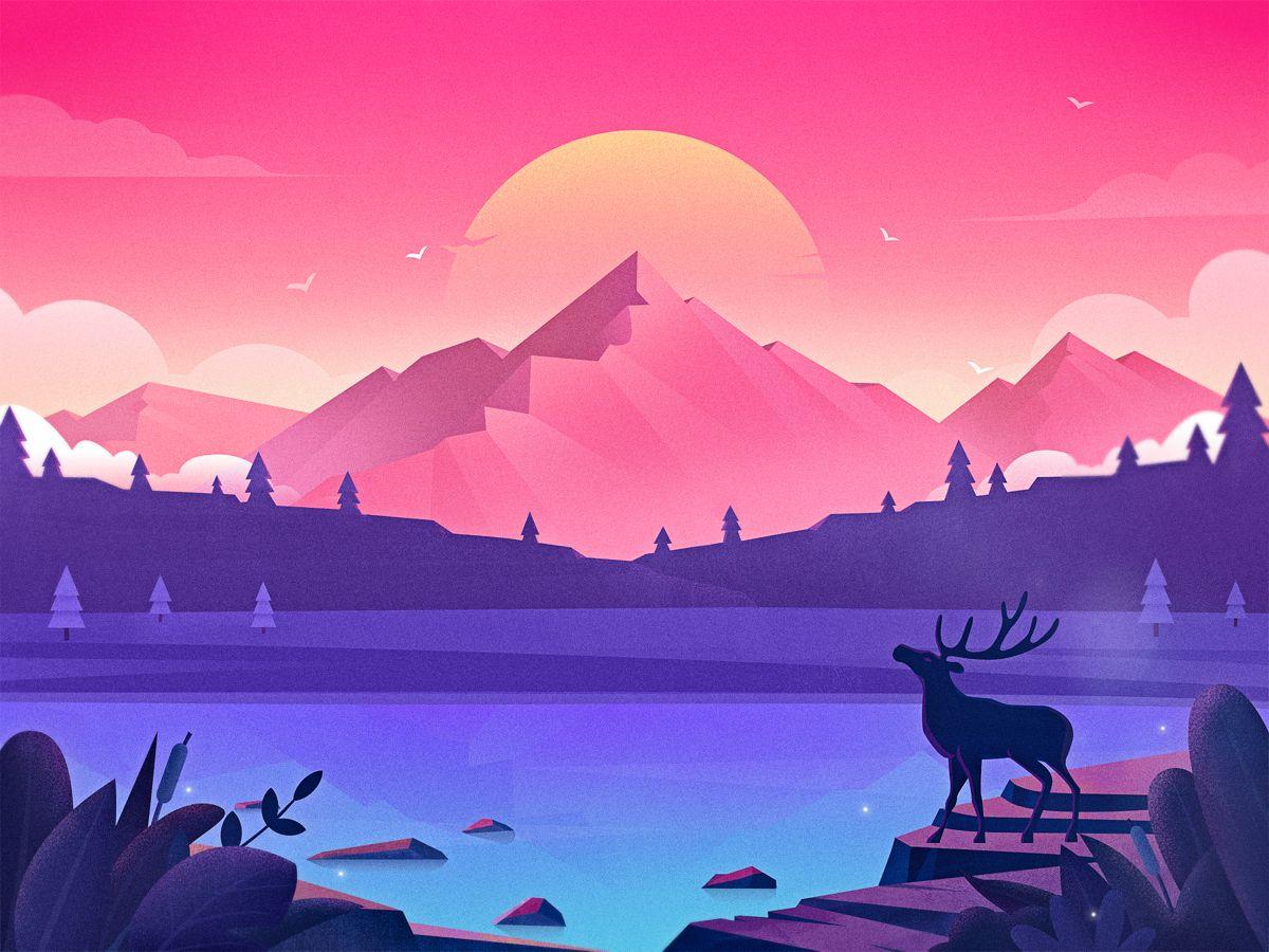 Illustration Forest Lake Vector Art Design Digital Art Illustration Landscape Art Painting