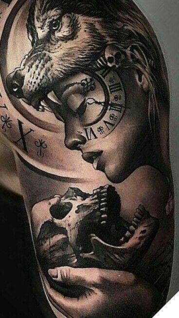 Pin By Dominik Joskowski On Ideas Para Tatuajes Wolf Girl Tattoos Best Sleeve Tattoos Headdress Tattoo