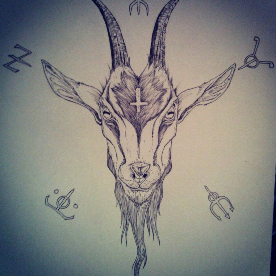 Evil goat tattoo - photo#14
