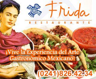 Frida Restaurante te ofrece la más exquisita gastronomía mexicana. El menú es preparado con ingredientes netamente mexicanos; el uso de chipotle, tomatillo y mole, hace una verdadera explosión de sabores con la firme intención de atrapar toda la atención de nuestros clientes. Estamos ubicados en la Av. 101 Local No. 152-75 Urb. La Alegria. Valencia, Edo. Carabobo. Y pueden comunicarse con nosotros al  (0241) 826.42.34.