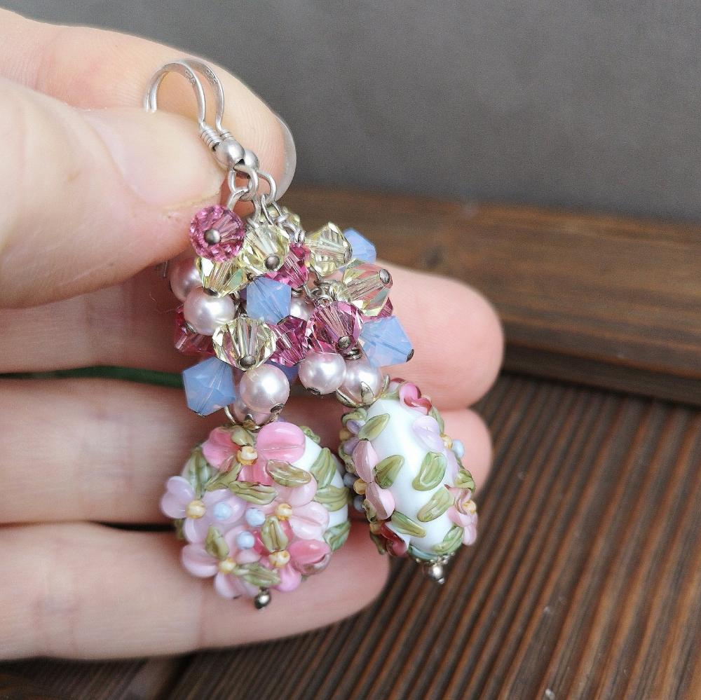 Silver 925 Lampwork Earrings Flowers
