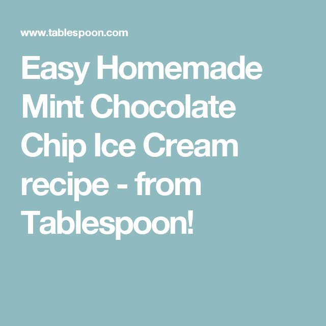 Easy Homemade Mint Chocolate Chip Ice Cream recipe - from Tablespoon!