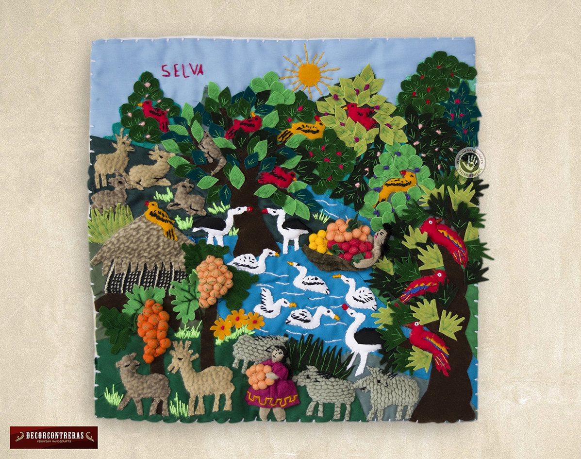Quilted Wall Hangings 10x10 Arpillera Wall Ornaments Etsy Wall Ornaments Peruvian Art Applique Wall Hanging