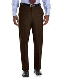 dark brown men's dress pants | Brooks Brothers Madison Fit Plain Front Flannel Trousers $248