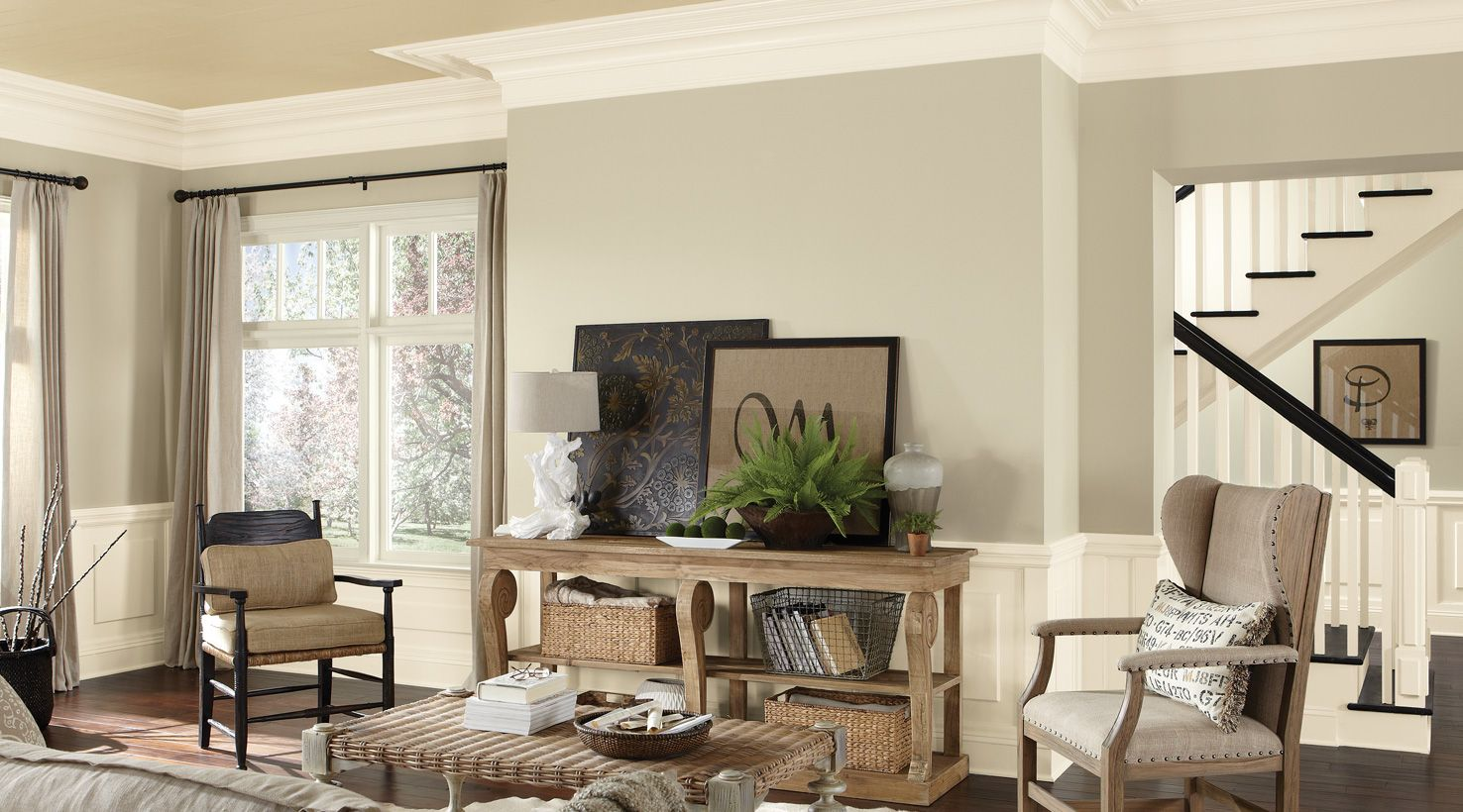 Neutral Paint For Living Room Sherwin Williams Wool Skein Sw 6148 Moderate White Sw 6140 Dover