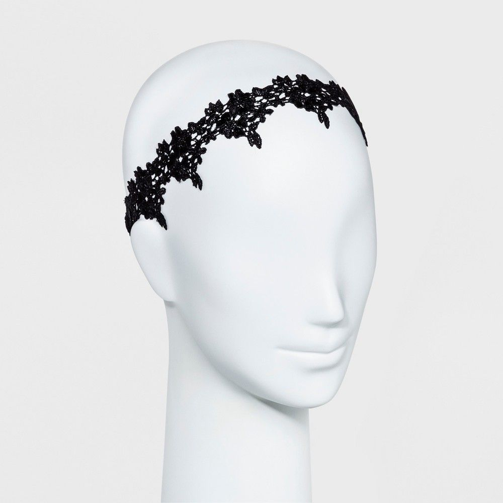 Women s Sequin Headband with Floral Lace - Black Black  6cd237d7f97