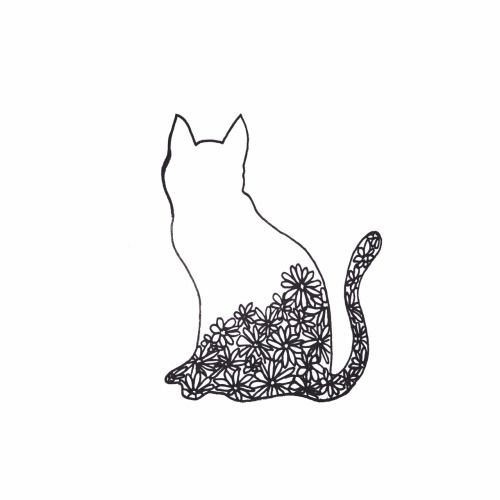Flower Cat Black And White Drawing Tumblr Drawings Easy Drawings