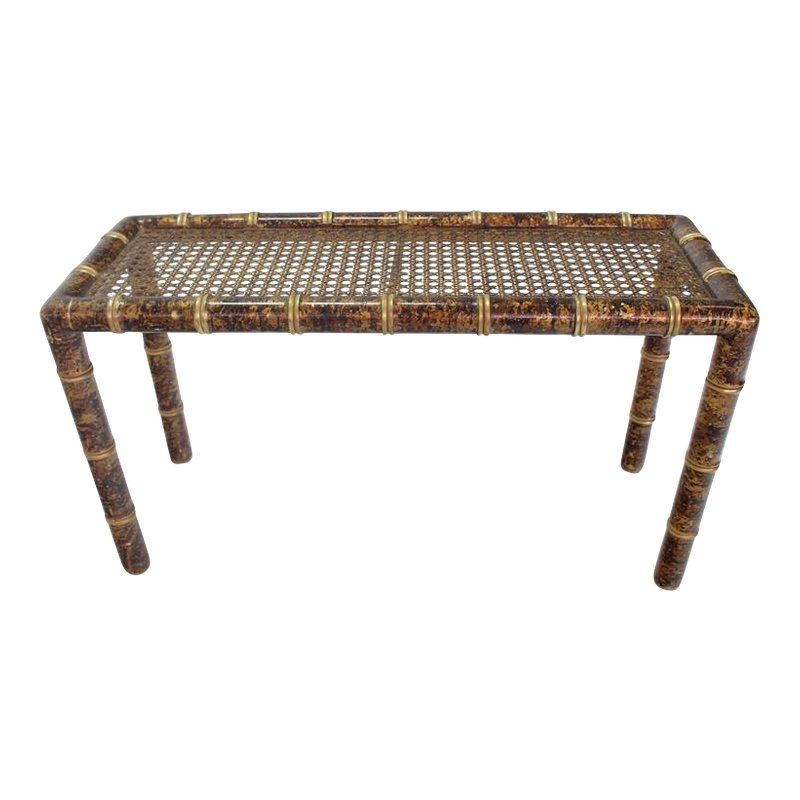 Surprising Gold And Amber Faux Bamboo Cane Top Console Table Products Ncnpc Chair Design For Home Ncnpcorg