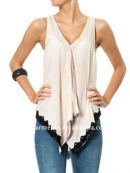 tapas sueltas con profundo v cuello tapas de la moda blusa de moda