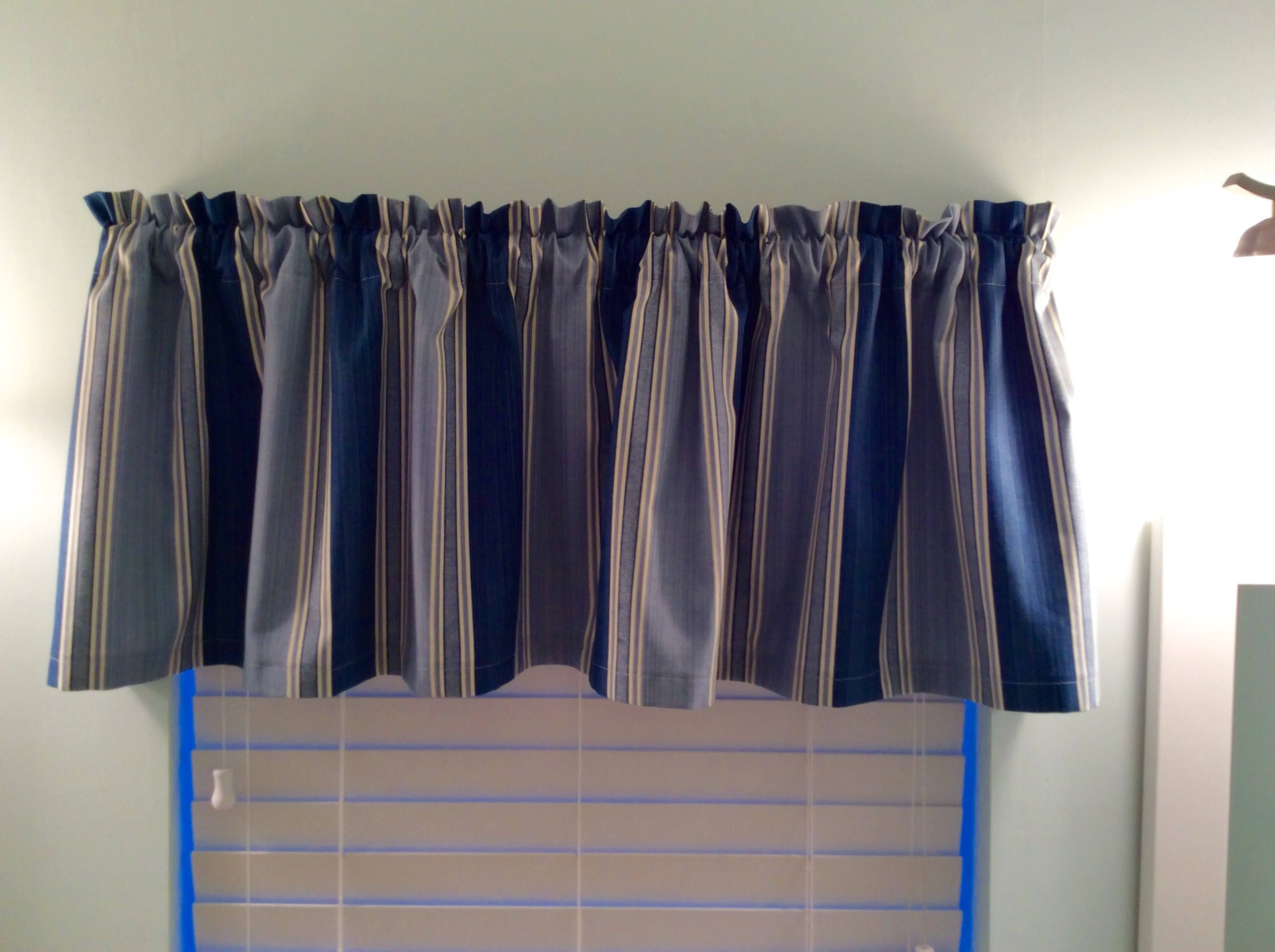 Blue Stripe Window Valance Livingroom Bedroom Kitchen Curtains Striped By Kelleysbeachdecor On Etsy