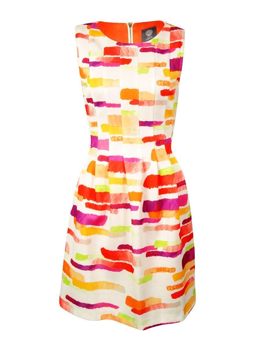 Vince Camuto Women's Paint-Stroke Pleated Scuba Knit Dress