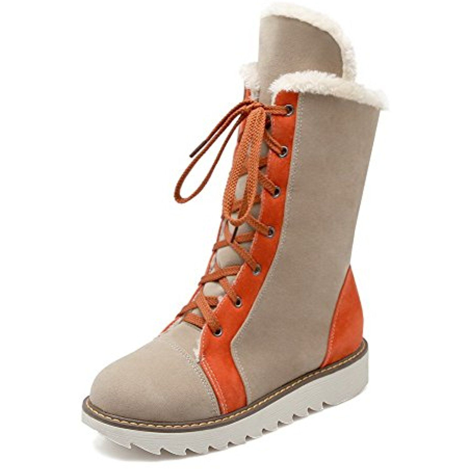 Women's Frosted Round Closed Toe Assorted Color Low-top High-Heels Boots