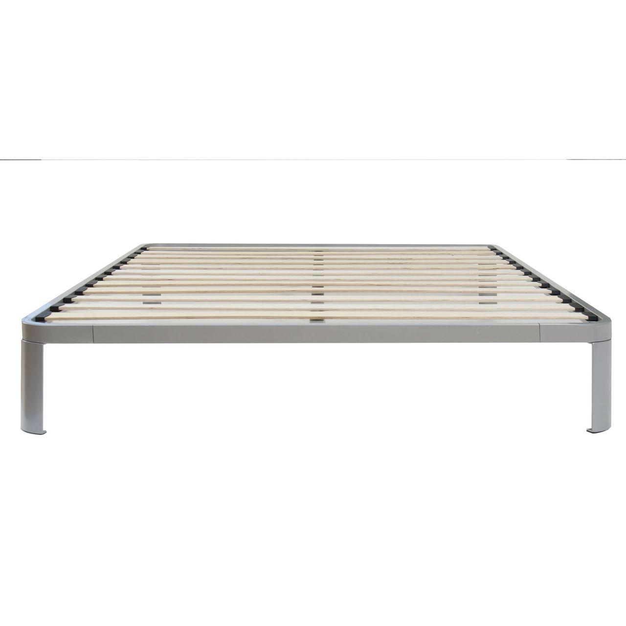 Full size Luna Metal Platform Bed Frame with Wooden Slats Metal