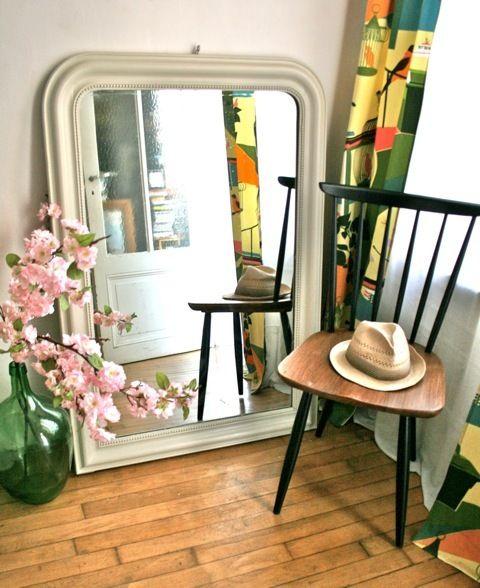 Grand miroir ancien de style Louis Philippe restauré en \