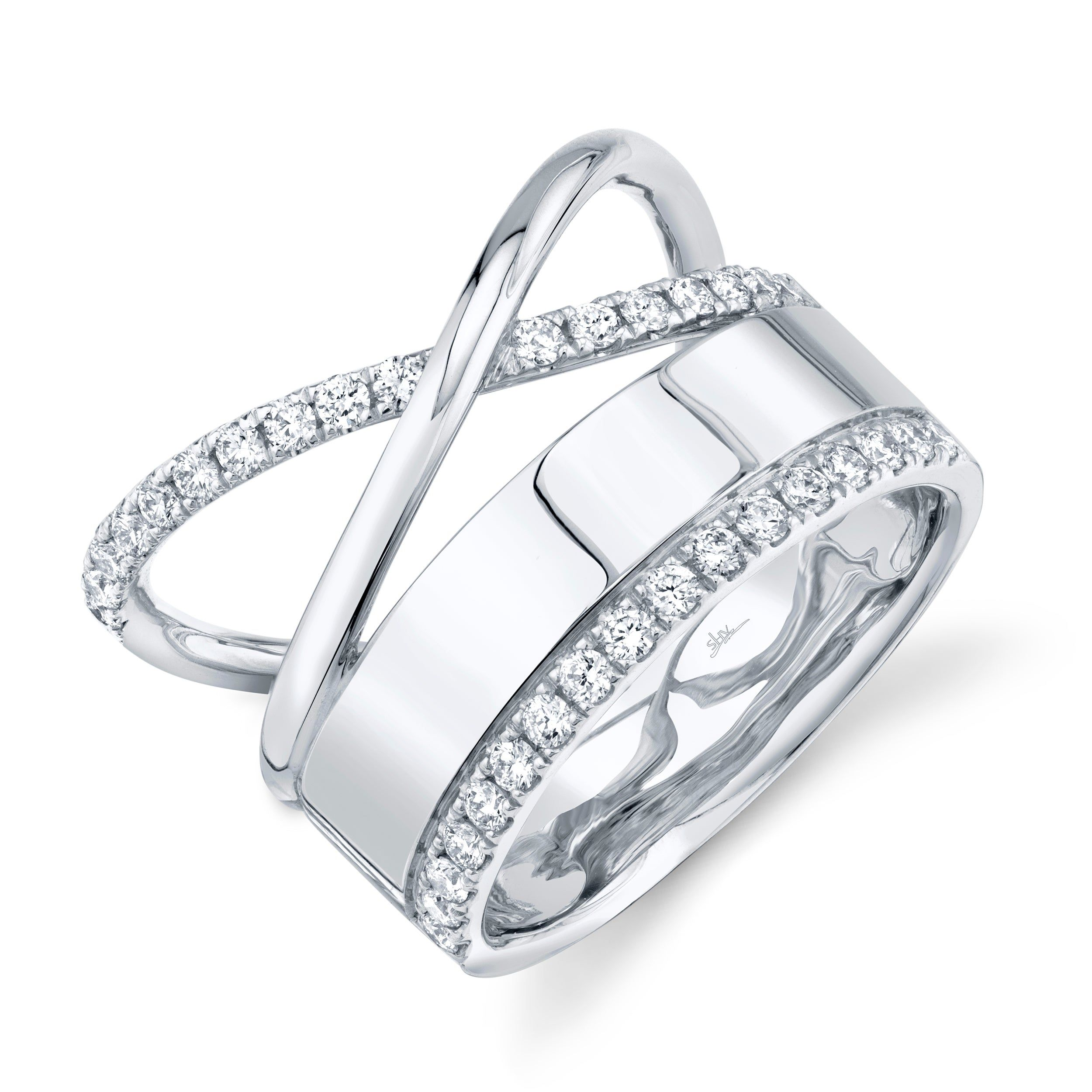 Shy Creation Diamond Crisscross Band In 14k White Gold Sc55008568 In 2020 Fashion Rings White Gold Rings White Gold
