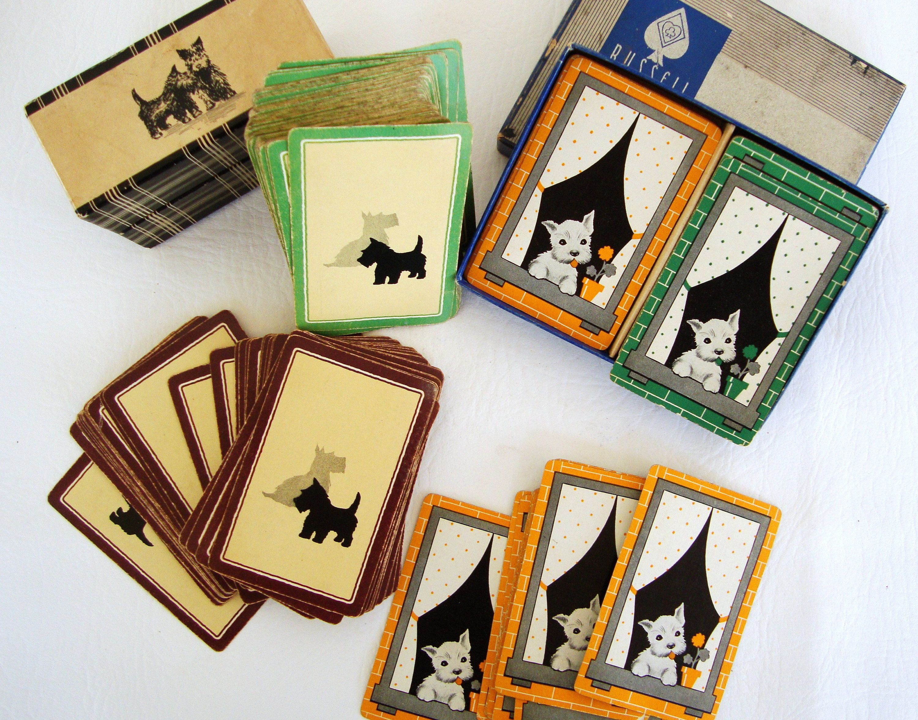 Paper Decor Scrapbooking Vintage Playing Cards Scottie Dogs Paper Playing Cards Scrapbooking Paper Ephemera Dog Cards Dog Playing Cards