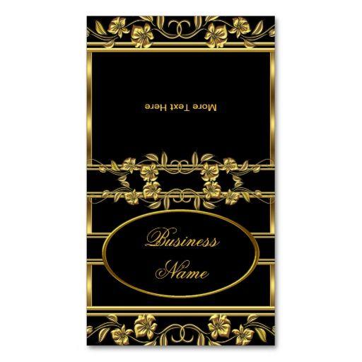 Fold Over Elegant Gold on Gold Black Floral Business Card Business