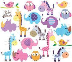 Safari Jungle Animals Clipart Cute Baby Zoo Animals Includes Etsy Free Clip Art Baby Zoo Animals Animal Clipart