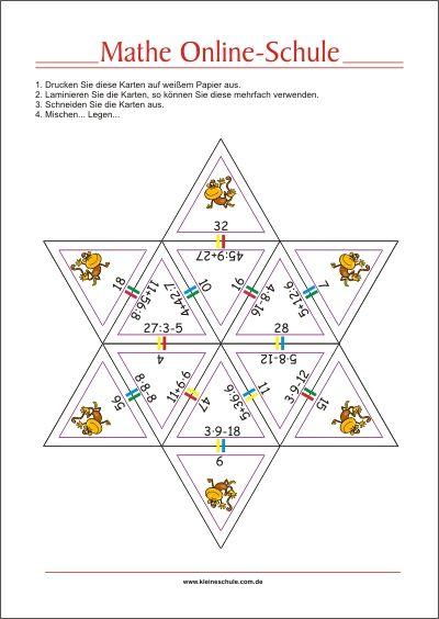 Spielerisch Mathe lernen! Punkt vor Strich Regel mit Lernkarten ...