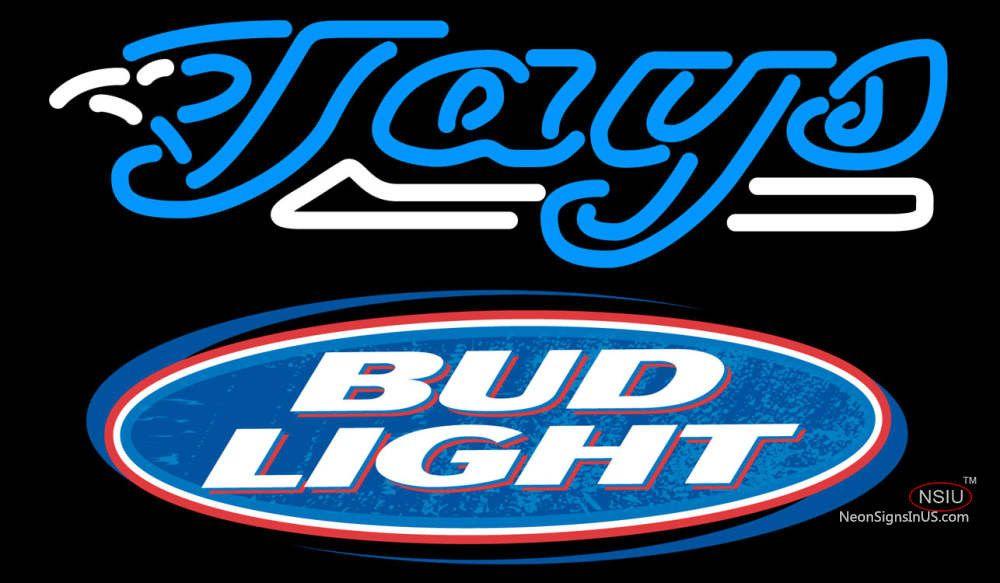 Bud Light Logo Toronto Blue Jays Mlb Real Neon Glass Tube Neon Sign