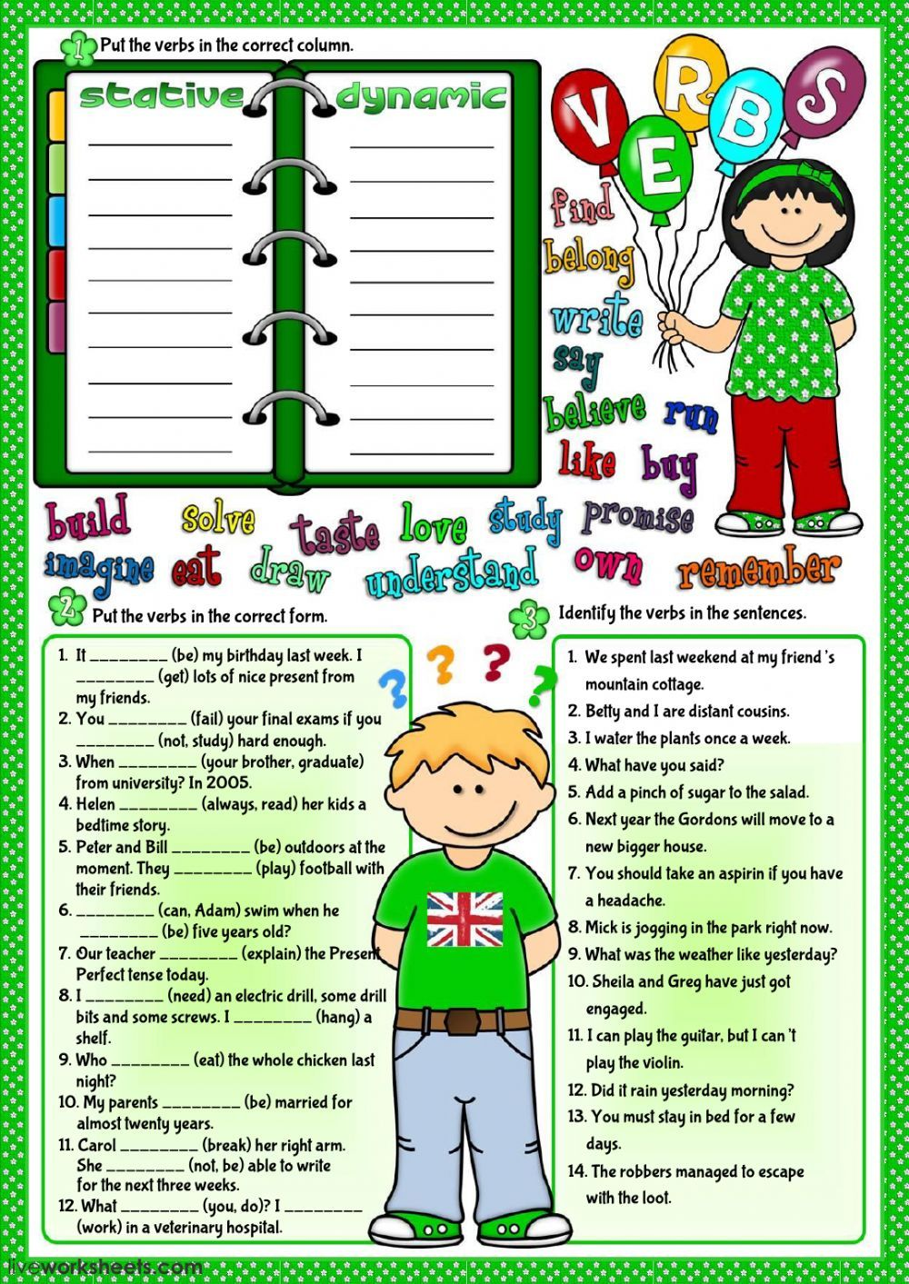 Verb Tenses Interactive And Downloadable Worksheet You Can Do The Exercises Online Or Download The Verb Teaching English Grammar English As A Second Language [ 1413 x 1000 Pixel ]