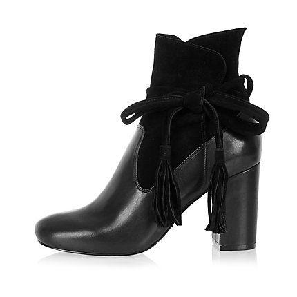 e48efe72cf9c Black suede tassel heeled ankle boots £35.00