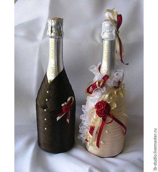 """Купить Свадебный набор бутылок """"Эльза"""" - золотой, кружево, свадебный декор…"""